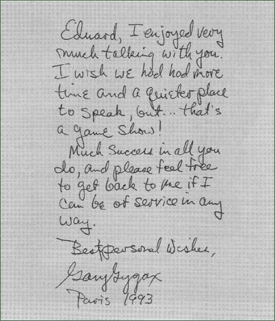 Carta Gary Gygax a Eduard