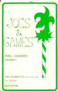 Etiqueta con el logo de Jocs & Games
