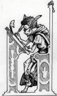 Drawing by Tony Ackland that was published in Warhammer Fantasy Role-play to illustrate the Scribe character class. It shows Rick Priestley scribbling away.