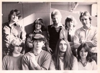Games Workshop Team 1982 Andy Patterson, Anthony Epworth, Bryan Ansell, Diane Lane, Gerry Ball, Chrissie Lane & Alan Merritt, Rick Priestley, a young lady whose name I forget